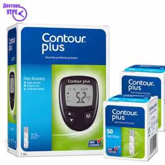 CONTOUR PLUS апарат за мерење шеќер во крв + 100 ленти