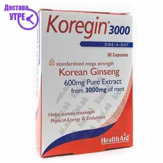 Health Aid Koregin Екстракт од Корејски Женшен капсули, 30