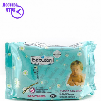 Becutan Baby Wipes with Camomile Влажни Марамчиња, 20